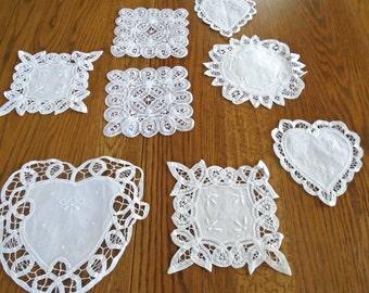 8 White Vintage Doilies / Lace Doilies / Heart Shaped / Square Doilies / Cotton Doilies / Wedding Decor / Baby Shower Decor