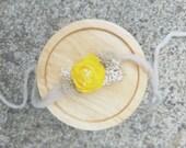 Newborn Baby Halo Headband - Tieback - Yellow - Moss - Photo Prop - Organic Inspired - Shabby Yarn - Mossy - Off White - Props - Floral Halo