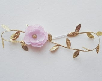 Gold Leaf Headband - Halo Headband - Bohemian Inspired - Baby Girl - Newborn Photo Prop Adult - Toddler - Gilded Gold - Light Pink Flower