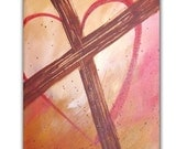 Original Abstract Painting 8x10, Cross with Heart, Inspirational Fine Art,Contemporary Christian Painting