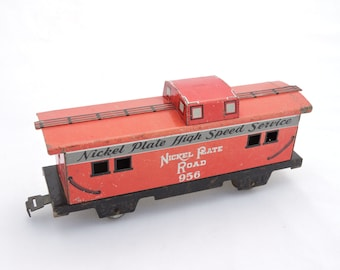 Vintage Marx Marlines Nickel Plate High Speed Service Train Car Caboose - Metal Tin Litho Train - O Scale Gauge