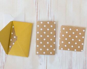 White Polka Dot / Brown Kraft Embossed Mini Folded Note Cards - 10 pc
