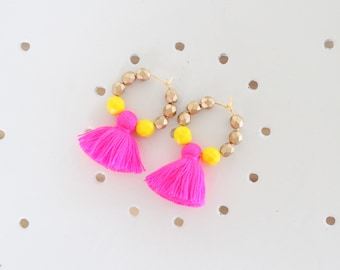 Tassel Earrings, Beaded Tassel Earrings, Tassel Jewelry, Neon Pink, Yellow, and Gold
