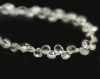 Natural Zircon Faceted Heart Briolettes 4 White Semi Precious Gemstones