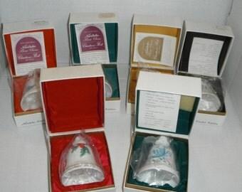Lot of 6 Noritake Christmas Bells 1972, 1974, 1975, 1976, 1977, & 1978