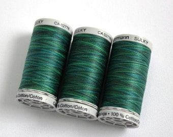 Variegated cotton thread, Gutermann variegated Sulky cotton, multicoloured sewing and embroidery thread, Shade 4021