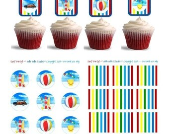SURFBOARD & CAR Cupcake TOPPERS ~ Printable Instant Download