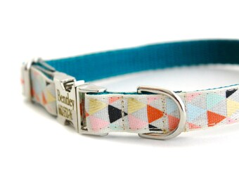 Personalized Arrow Print Collar, Triangle Collar on Teal Webbing