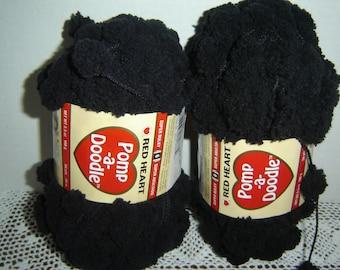 Red Heart Pomp-A-Doodle Jet black yarn, destash, discontinued novelty yarn, super bulky, 2 skeins, 54 yds. ea.