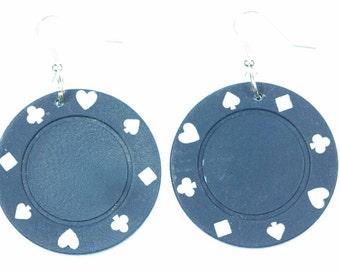 [BUNDLE] [OR00587B] Poker chip earrings earrings of Miniblings Poker Casino Las Vegas gambling blue