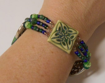 Celtic Knot Beaded Woven Bracelet Porcelain Clay Focal, Sea Glass, Agate, Aventurine, Gemstone Beaded Bracelet - Large size
