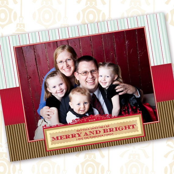 Christmas card, red and green striped Christmas card, merry and bright Christmas card, red and gold holiday greetings, CC093