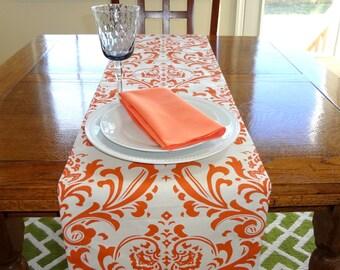 Wedding Table Decor Table Runner Table Top Orange Damask Table Runner Sweet Potatoe Runner