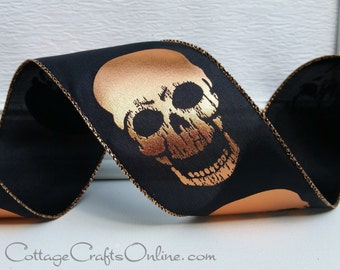 "Halloween Wired Ribbon, 2 1/2"" Copper Metallic Skull on Black Satin - TEN YARD ROLL -  ""Skull Shine"" Wire Edged Craft Ribbon"