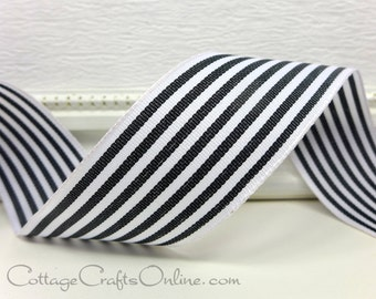 """Wired Ribbon, 1 1/2"""" wide, Black and Ivory Stripe - TWENTY FIVE YARD Roll - Offray """"Newport Black"""", Grosgrain Style Wire Edged Ribbon"""