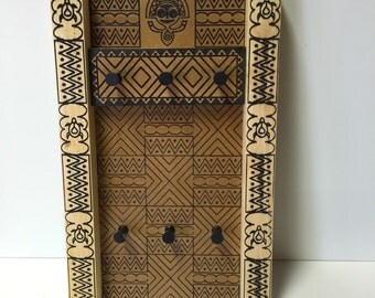 Hand Carved Elviki Tiki On Wood With Hand Made Wooden Frame