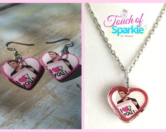 Robert Pattinson Necklace and Earrings Valentine Glitter Shimmer Jewelry Set
