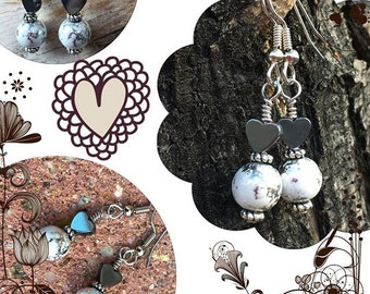 Hematite Heart Earrings Mottled Splatter Graffiti White Silver Valentine Gift for Her