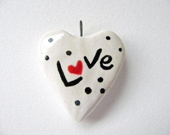 Love Heart Pendant Earthenware Clay