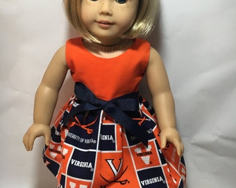 18 inch doll dress made of University of Virginia fabric,  made to fit 18 inch dolls such as American Girl and similar 18 inch dolls