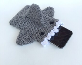 Shark Phone Case - Crochet Phone Case - Phone Cozy - iPhone 6s - Phone Case - Phone Sleeve - Phone Accessory
