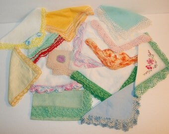 13 Vintage Hankies Crochet & Flowers Gorgeous Super Pretty Group of Colorful Handerchiefs
