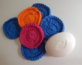 Spa Face Scrubbies - Crochet in Pink, Blue, Orange - Set of 6