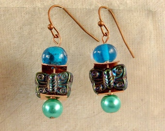 Glass, and Metal Earrings - LE59