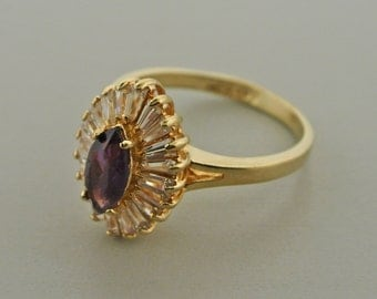 Lindenwold Espo 14kt Gold Electroplate Cocktail Ring Amethyst and Clear Stones Size 10-11