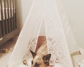 Ready to ship!!! Finn 5 sided ivory/offwhite lace mini teepee tent with stained wooden polls