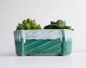 Vintage Ceramic Green Drip Planter; Upco Flower Pot
