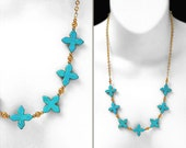 """Turquoise Mini Cross Statement • One Of A Kind • A Modern Southwestern & Santa Fe Design • w/ An 18"""" Gold Filled Chain •  FREE EARRINGS Too!"""