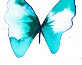 turquoise butterfly original watercolour and ink painting