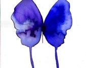 "blue violet purple butterfly 8 X 10"" original watercolour painting"