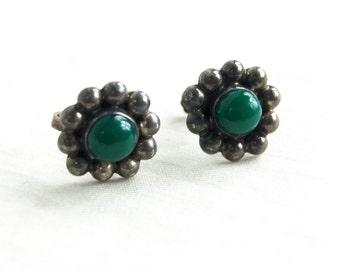 Antique Sterling Silver Screw Back Earrings Vintage Green Screwback Flowers Non Pierced Earrings