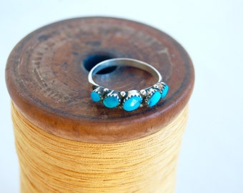 Turquoise Ring Band Sterling Silver Size 6 .5 Vintage Southwestern Stackable Ring