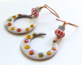 Harvest Moon Earrings - Vibrant Enamel Crescents, Labradorite Slices, Picasso Czech Glass Seed Beads, Copper