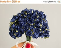 SALE 10% OFF 144 Paper Roses / Navy Blue / 12 Dozen Flowers / Bridal / Scrapbooking / Wedding Favors / Millinery / Baby Shower