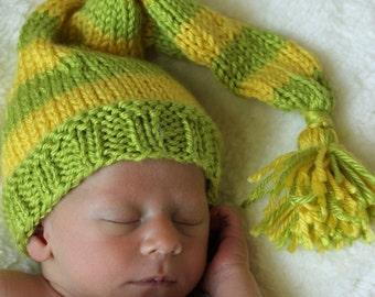 Newborn knit baby hat, Newborn striped Stocking Cap