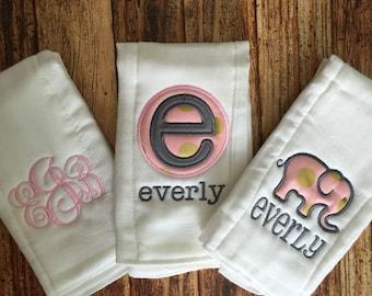 Set of 3 Personalized Burp Cloths - Diaper Cloths - Baby Girl - Monogrammed - Gift Set - Bird - Owl