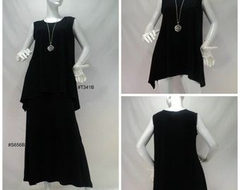 Size M black tunic length tank top with round neck in bamboo/cotton/spandex stretchy knit fabric.