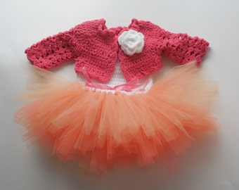 Cutest Baby Girl Hand Crocheted Tutu Dress with Bolero  Size NB to 3 months