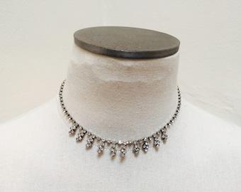 Vintage 1960s Rhinestone Lightning Bolt Choker Necklace