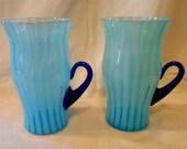 Fenton Art Glass Blue Opalescent Rib Optic Stripe Lemonade Mug