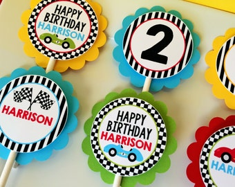 12 Race Car Party Cupcake Toppers