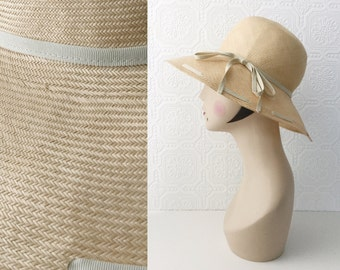 50's Wide Brimmed Sun Hat, Golden Staw Hat with Gross Grain Details, Woven Double Bow Hat Band in Beige, Size Adult XS, by Belmar, Vintage