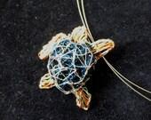Sea turtle necklace Turtle jewelry Unique necklaces for women Wire sculpture art necklace Wire art jewelry Ocean jewelry Sea jewelry