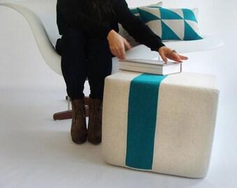 Outdoor Natural Pouf/Teal/Ottoman/Stripe Pouf/Urban/Minimalistic/Modern/Floor Pouf/Foot Stool/Nursery Pouf/ Zigzag Studio Design