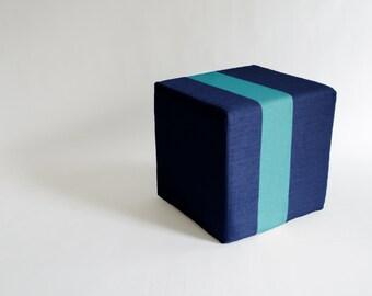 Outdoor Navy Blue Pouf/Floor Pouf/Ottoman/Stripe Pouf/Aqua Stripe/Urban/ Modern/Floor Pouf/Foot Stool/Nursery Pouf/ Zigzag Studio Design