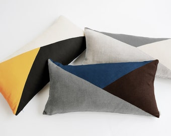 Lumbar Pillow Cover/Triangle/Yellow/Espresso/Ivory/Modern/Minimalistic/Stylish Accent Pillow/New Collection/Zigazag Studio Design